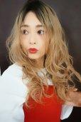 画像2: ふかし加工-ウェットシリーズ☆モードロングパーマ【根本黒染めカスタードバニラ】 (2)