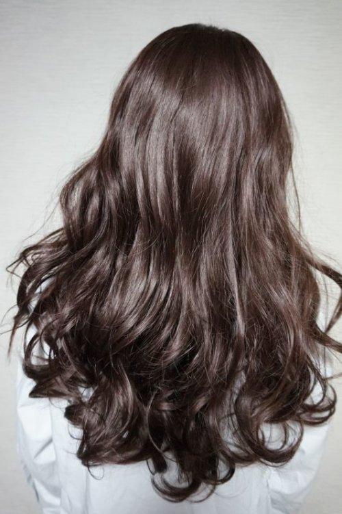他の写真2: front lace wig☆シースルーエアリーバングウォームウェーブロング【根元黒染めオリーブブラウン】