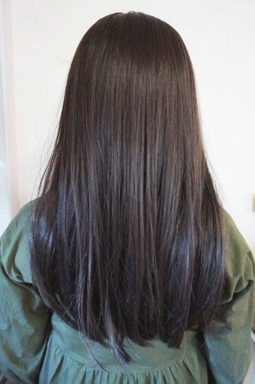 他の写真2: front lace wig☆センターパート☆ワンレンストレートロング【根元黒染めベージックブラウン】