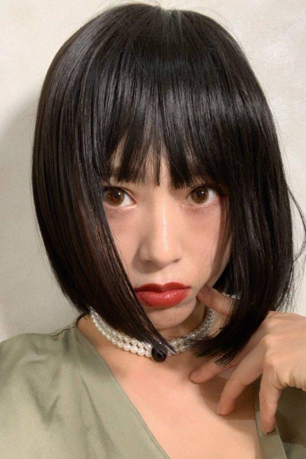 画像2: ぱっつん前髪☆シンプルベーシックボブ【ブラック】