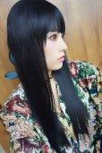 画像2: 《Sサイズ展開有》 幅広つむじ☆ぱっつん前髪ブラントカットストレートロング【ブラック】   (2)