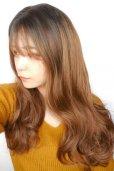 画像13: front lace wig☆シースルーエアリーバングウォームウェーブロング【根元黒染め×ショコラベージュ】
