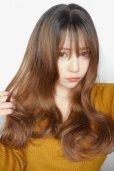 画像10: front lace wig☆シースルーエアリーバングウォームウェーブロング【根元黒染め×ショコラベージュ】