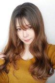 画像11: front lace wig☆シースルーエアリーバングウォームウェーブロング【根元黒染め×ショコラベージュ】