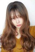 画像9: front lace wig☆シースルーエアリーバングウォームウェーブロング【根元黒染め×ショコラベージュ】