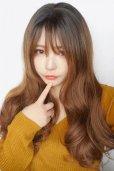 画像14: front lace wig☆シースルーエアリーバングウォームウェーブロング【根元黒染め×ショコラベージュ】