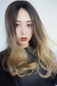 画像5: front lace wig☆ジェンダーレスウェーブロング【根元黒染め×アッシュゴールドグラデ】