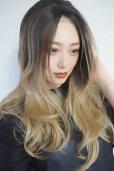 画像3: front lace wig☆ジェンダーレスウェーブロング【根元黒染め×アッシュゴールドグラデ】