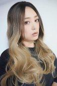 画像8: front lace wig☆ジェンダーレスウェーブロング【根元黒染め×アッシュゴールドグラデ】