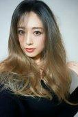 画像3: front lace wig☆ジェンダーレスウェーブロング【根元黒染め×シナモンベージュグラデ】