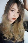 画像9: front lace wig☆ジェンダーレスウェーブロング【根元黒染め×アッシュゴールドグラデ】