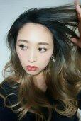 画像12: front lace wig☆ジェンダーレスウェーブロング【根元黒染め×シナモンベージュグラデ】