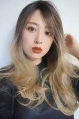 画像7: front lace wig☆ジェンダーレスウェーブロング【根元黒染め×アッシュゴールドグラデ】