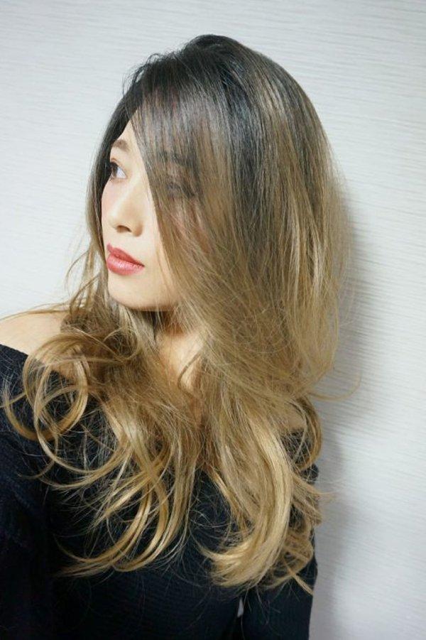 画像2: front lace wig☆ジェンダーレスウェーブロング【根元黒染め×シナモンベージュグラデ】