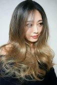 画像6: front lace wig☆ジェンダーレスウェーブロング【根元黒染め×シナモンベージュグラデ】