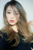 画像8: front lace wig☆ジェンダーレスウェーブロング【根元黒染め×シナモンベージュグラデ】
