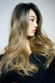 画像4: front lace wig☆ジェンダーレスウェーブロング【根元黒染め×シナモンベージュグラデ】