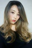 画像5: front lace wig☆ジェンダーレスウェーブロング【根元黒染め×シナモンベージュグラデ】