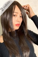 人毛mix☆リアルスキン☆総レースストレートロング【チョコブラック】