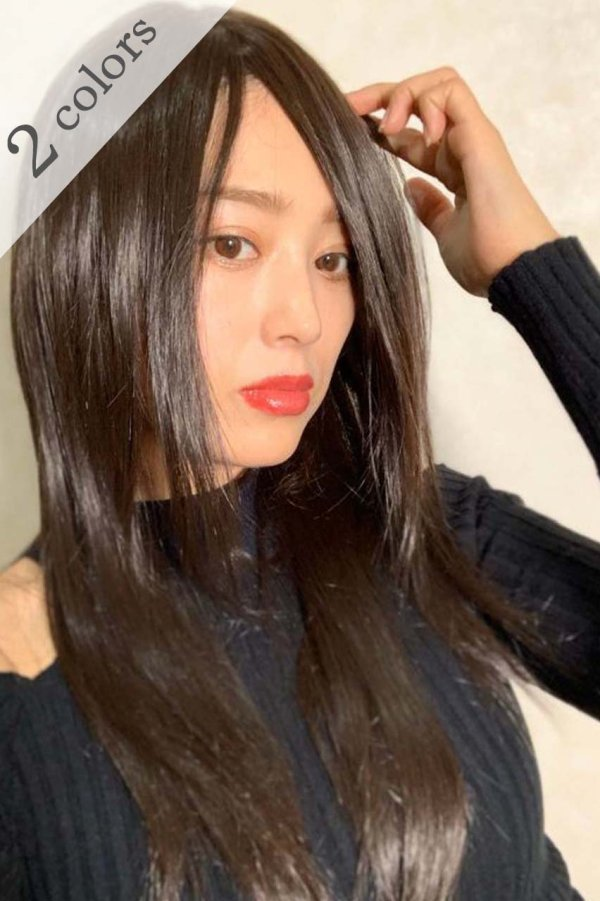 画像1: 人毛mix☆リアルスキン☆総レースストレートロング【チョコブラック】